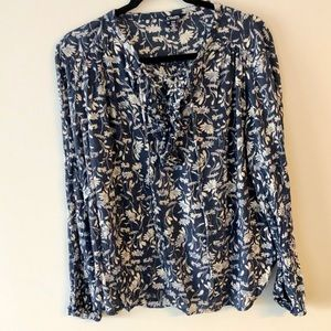 Chaps Blue and White Floral Top